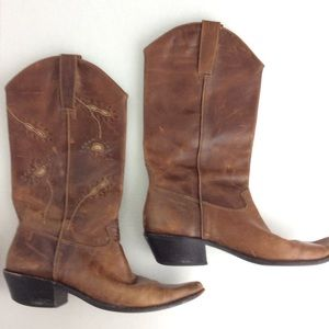 Vintage Brown Leather Floral Pointy Cowboy Boots 8